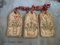 Primitive Spring Hang Tags Flowers Hand by valleyprimitives