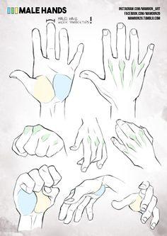 simplified anatomy 05 - male hands by mamoonart.deviantart.com on @DeviantArt