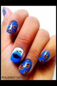 Cookie Monster Nails! @Johanna Melcon these are better!! #cookiemonster #nails
