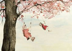 Illustration: grandma and girl swinging: Mare en de dingen, Kaatje Vermeire Illustrations And Posters, Drawings, Picture Book, Painting, Illustration Art, Art, Artsy, Cute Illustration, Book Art