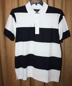 Men's Size M Black & White Striped Knit Polo/Golf Shirt Short Sleeve NEW NWT