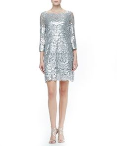 another stop in sparkletown // Long Sleeve Patterned Sequin Dress by Yoana Baraschi at Neiman Marcus, $408