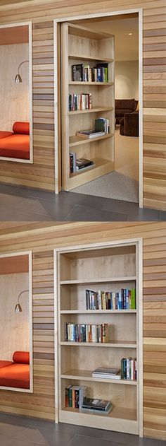 Hidden Doors And Secret Passages Ideas Secret door - great for the rooms you dont want people to go into. makes me think of scooby doo, but still awesome! Hidden Spaces, Bookcase Door, Secret Door Bookshelf, Bookshelf Ideas, Door Shelves, Display Shelves, Home Projects, Home Goods, Sweet Home