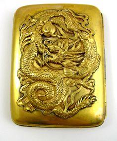 Japan Repousse Dragon Gilt Vintage Card Cigarette Case Signed