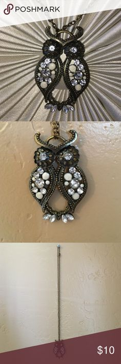 Owl Rhinestone Necklace Owl necklace with rhinestone embellishments. New Jewelry Necklaces