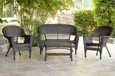 4pc Espresso Resin Wicker Conversation Patio Furniture Set | Jeco