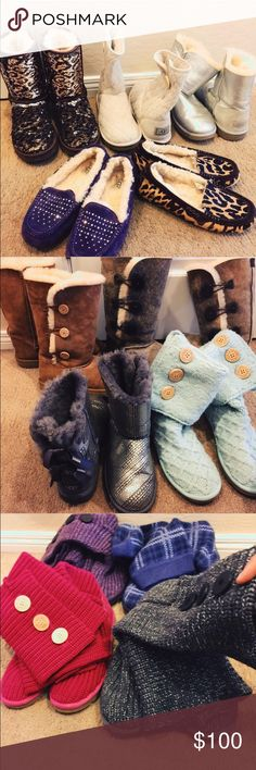 The Ugg Collection❄️ I am relocating to Europe and will be selling pairs of my Uggs nearly 60%. I have many styles, so I would gladly accept photos of what specific Ugg you are searching for. I have many unique styles as shown up above, so feel free to inquire! I will create an individual separate listing once you have made your mind on a pair.   (Only holding pairs for a maximum of 2 days) UGG Shoes Winter & Rain Boots