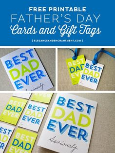 Best Dad Ever Printable Fathers Day Cards and Gift Tags // Free Download from Elegance & Enchantment