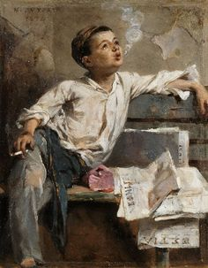 """Boy Smoking"", 1894 by Nikiforos Lytras (Greek, Oil on panel , 23 x 18 cm, National Gallery of Greece L'art Du Portrait, Portraits, Greek Paintings, Art Occidental, Art Through The Ages, Greek Art, Art Design, Community Art, Artist Painting"