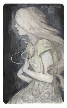 """amsartor:  """" a.m.sartor illustration  """"The Locket""""  ink, gouache, pastel, colored pencil, digital  5X8″  Created for """"Secrets"""" challenge, part of the Month of love 2017  Tormentum meum, laetitia mea  The Screaming Staircase by Jonathan Stroud.  """""""