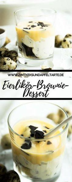 Einfach gemacht und super lecker: mein Eierlikör-Brownie-Dessert. Tolles Rezept für ein schönes Dessert zu Ostern oder zum Frühlings-Brunch - schnell und köstlich #Ostern #dessert #brunch #einfach