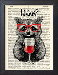 Raccoon poster, red wine print, funny drink art, Alcohol Dictionary Book pages, Gift poster, home bar Wall decor, CODE/232