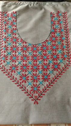 Hand Embroidery Design embroidered with basic hand embroidery stitches. Basic Hand Embroidery Stitches, Hand Embroidery Dress, Kurti Embroidery Design, Embroidery Neck Designs, Creative Embroidery, Hand Embroidery Patterns, Diy Embroidery, Embroidery Techniques, Machine Embroidery