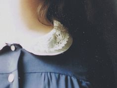 lace collar neck hair buttons blue pale