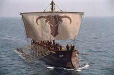 Replica of an Etruscan ship: Troy movie Gig'em Aggies Saw 'em OFF Brad Pitt, Troy Movie, Mycenae, Greek Warrior, Empire Romain, Trojan War, Achilles, Tall Ships, Ancient Greece