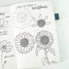 Flower Drawing sunflower bullet journal layout - Its been a popular theme during summer! So we have forund 43 sunny stunning sunflower bullet journal layout ideas and spreads to show you and Flower Drawing Tutorials, Flower Sketches, Drawing Flowers, Flower Drawings, Painting Flowers, Diy Painting, Doodle Drawings, Easy Drawings, Doodle Art