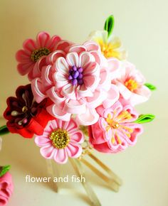 Kanzashi-Kanzashi Flower-Kanzashi Hair by GEISHAFLOWER on Etsy