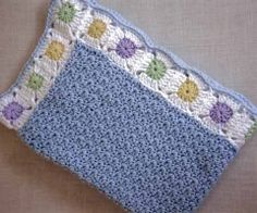 Baby Afghan ~ Blue with Granny squares border