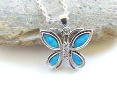 Opal Butterfly Charm Necklace Opal Necklace by pnljewelrydesigns, $32.00