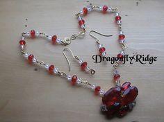 Ruby Red Crystal Jewelry Set OOAK Handmade Gift by dragonflyridge, $60.00
