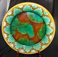 Large Old Majolica Pottery Plate w HP Abstract Leaf Design | eBay