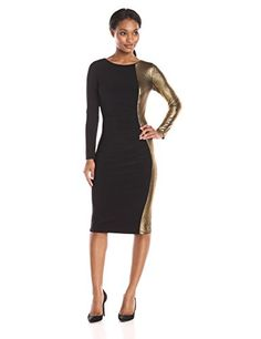 Anne Klein Women's Metallic Combo Long Sleeve Rouched Dress  Metallic combo long sleeve dress with rouching detail great for any occasion Long sleeve Long sleeve Rouched dress  http://www.artydress.com/anne-klein-womens-metallic-combo-long-sleeve-rouched-dress/