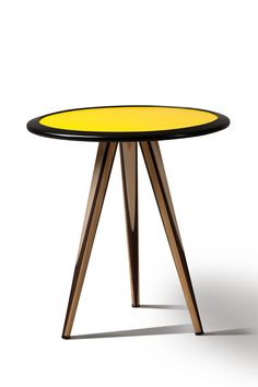 CARAMBOLA, side table with billiard cue turned legs made of cherry, maple and wengè, by Maurizio Duranti
