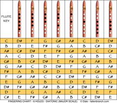 """6 Holes Diatonic (or major) Scale - This is the well known """"do-re-mi-fa-sol-la-ti-do"""" scale. Even though most Native American (& Style) Flutes are not usually tuned to this scale, you can try it, using the fingering above..."""