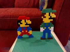 Luigi and Mario Lego Mario, Lego Super Mario, Super Mario Party, Fun Projects For Kids, Lego Projects, Mario And Luigi, Mario Bros, Manual Lego, Legos