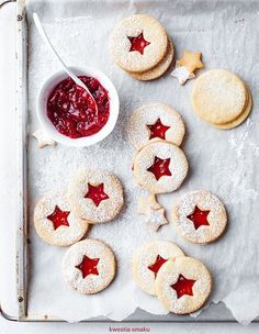 christmas coconut cookies with raspberry jam