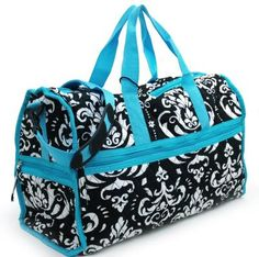 Large Quilted Damask Print Duffel DIAPER Bag