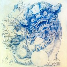 foo dog drawing More Asian Tattoos, Dog Tattoos, Body Art Tattoos, Sleeve Tattoos, Body Tattoo Design, Foo Dog Tattoo Design, Japanese Tattoo Designs, Japanese Tattoos, Dog Outline