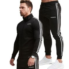 Men Coats and pants Suit Casual Fashion Sportswear Sweatshirt/Sweatpants Male Fitness Joggers Brand Tracksuit Trousers. Running Suit, Running Sports, Tracksuit Jacket, Style Casual, Sport Pants, Men's Pants, Sweatpants, Joggers, Sweatshirts
