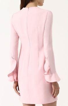 Однотонное мини-платье из смеси шерсти и шелка с оборкой   Фото №4