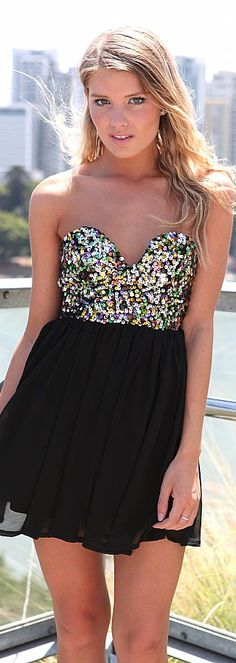 SEQUIN BODICE DRESS #black #strapless #dress #mini #glitter