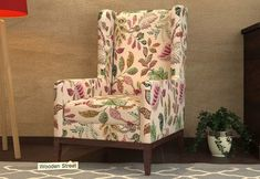 Joan Wingback Chair (Rosy Leaf) Wingback Chair, Armchair, Wooden Street, Wing Chair, Accent Chairs, Wings, India, Modern, Furniture