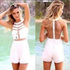 Сексуальные женщины спинки белая сетка пэчворк комбинезон комбинезон летний повседневный штаны