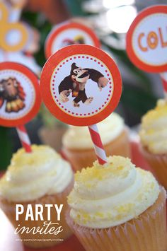 Donkey Kong Personalized Cupcake Toppers by partyinvites on Etsy, $8.00