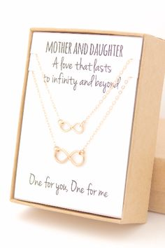 Your mom will LOVE this. The perfect gift for Christmas, Mother's Day, or that special upcoming birthday! Made from gold-filled infinity charms and necklace chain and findings, these necklaces are per