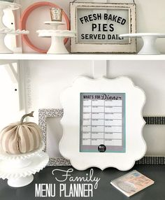 family menu planner printable