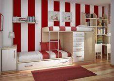 malířský pokoj s červenými a bílými rauyres, palandy, skvělý nápad deco