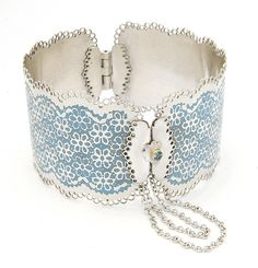 Hinged Bracelet | Barbara Macleod. 'Lace ~ Blue Sea'.  Sterling silver with etched pattern filled with enamel. 18k gold and aquamarine.