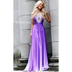 "Sherri Hill Purple Long Prom Dress Beautiful Sherri Hill prom gown only worn once! Purple ombré pattern with sequin and rhinestone embellishments around the neck and back. Size 0, my measurements 5'7"" , 34-25-32 Sherri Hill Dresses Prom"