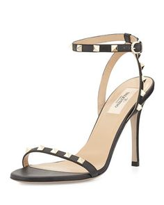 6a73a82c70f Valentino Rockstud Leather Ankle-Wrap Sandal