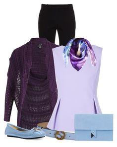 A fashion look from December 2015 featuring purple cardigan, Diane Von Furstenberg and bootcut pants. Cheap Fashion, Women's Fashion, Purple Garden, Celebs, Celebrities, Business Casual, Diane Von Furstenberg, Polyvore Fashion, Alexander Mcqueen
