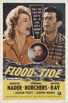 "Flood Tide 1958 Authentic 27"" x 41"" Original Movie Poster Fine, Very Fine George Nader Drama U.S. One Sheet"