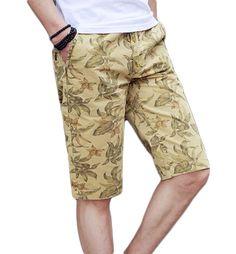 Mens Tan Upscale Stylish Floral Print Shorts