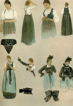 Aquarelle de C. Spindler Alsace, French Costume, Alsatian, Mori Girl, Lorraine, Traditional Dresses, Folklore, Costumes, Folk Costume