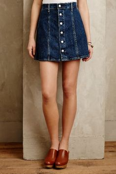 Alexa Chung for AG Button-Front Denim Skirt - anthropologie.com