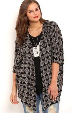 Deb Shops Plus Size Tribal Print Kimono with Elbow Length Sleeves
